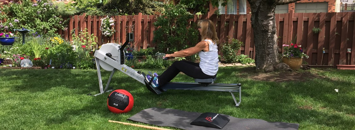 A garden fitness session